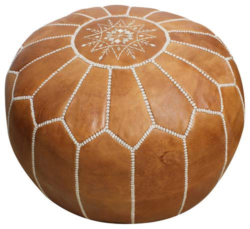 Handmade Morocco Moroccan Leather Pouf Ottoman, 20'' Diameter 13'' Height (Tan Brown White Stitches) ... by Handmade morccan
