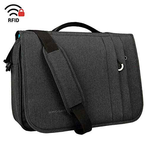 KROSER Briefcase Laptop Messenger Bag 16 inch Laptop Bag Water-Repellent Flapover Computer Case Business Shoulder Briefcase with RFID Pockets for Business/College/Men/Women - Charcoal Black