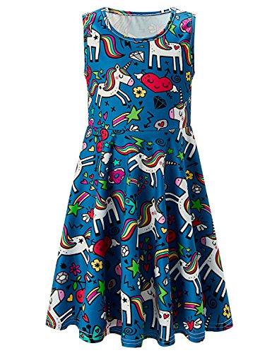 Dresses for Girls 10-12 Star Unicorn Birthday Dress Play Simple 10 Unicorn Dress Fancy Dress Swing Dress Size 12 (Navy Unicorn, 10-13 T) -