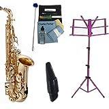 Charlie Parker Elite Series Saxophone Bundle Includes RS Berkeley Elite Series Alto Saxophone w/Bonus Charlie Parker Sax Mouthpiece, Care & Cleaning Pack+ Purple Music Stand