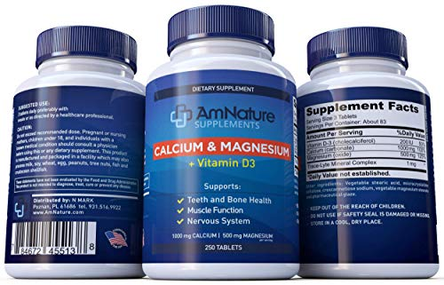 AmNature Calcium Magnesium supplement with Vitamin D3 and Bentonite clay Support Teeth and Bone Health, Muscle Function and Nervous System Calcium 1000mg - 500mg Magnesium 250 Tablets