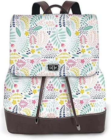 Women's Leather Backpack,Colorful Fresh Flower Petals Leaves Little Blossoms and Buds Childish and Cheerful,School Travel Girls Ladies Rucksack