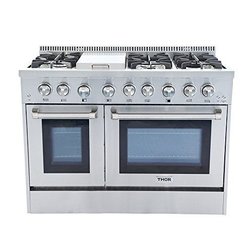 Thor kitchen 48″ Freestanding Professional Style Dual Fuel Range 6.7 cu. ft. Electric Oven 6 NP/LP Burners S tainless SteelHRD4803U (HRD4803U-NP)