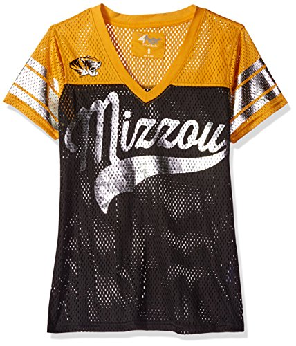 NCAA Missouri Tigers Women's Pass Rush Mesh Top, X-Large, (Foil Script Logo Tee)