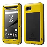 Sony Z5 Premium case,Feitenn Water resistant Rainproof Shockproof Dust/Dirt/Snow Proof Gorilla Glass Aluminum Metal Military Heavy duty Protection Case For Sony Z5 Premium Outdoor sport use (Yellow)