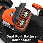 "Yard Force YOLMX225300 120V 2.5Ah x 2 Lithium-Ion 22"" SP 3-in-1 Mower Torque-Sense, One Size, Black/Orange 10 POWERFUL, RELIABLE PERFORMANCE + 5-YEAR WARRANTY: The 120vRX brushless motor has the torque of a gas engine to cut through all grass types and conditions with up to 100 minutes of runtime on a single charge with two batteries installed. Dual battery ports operate either battery when two are installed. When one is completely discharged, the sensor powers the other battery to keep you going. The mower operates with only one battery installed if you need to charge the other battery while cutting. TORQUE-SENSE TECHNOLOGY: Sensors built in to the motor receive feedback while you are cutting and sense when more power is needed for thick, dense or wet grass to increase the blade speed for a premium cut. This gives you power when you need it and saves energy when you don't to extend the runtime even longer. SELF-PROPELLED / SPEED ADJUSTABLE DRIVE: Step up to self-propelled power drive with a simple control lever on the handle to reduce effort and achieve a perfect cut every time! Adjust the speed with the touch of a lever at your fingertips. Self-propelled drive is essential for yards with hills and slopes of all degrees to maintain a consistent cut and is safer by providing more control during operation."