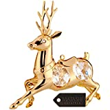 24K Gold Plated Reindeer Ornament Made with Genuine Matashi Crystals