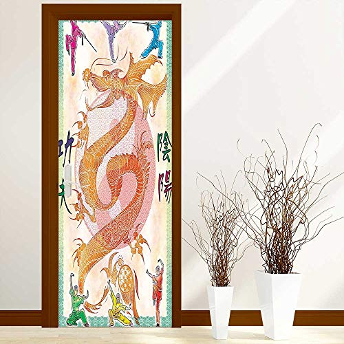 (L-QN Door Sticker Wall Murals Decals Collection Asian Theme Chinese Dragon with Martial Arts Figures Japanese Samurai and Ying for Home Bedroom Decor W38.5 x H77 inch)