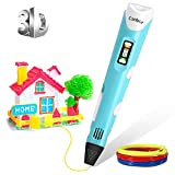 Ethradia 3D Printing Pen for Kids, 3D Doodler Drawing Printing Printer Pen for Arts Crafts DIY Perfect Gift for Kids and Adults, Compatible with PLA ABS Filament, Safe and bright LED Display (Blue)