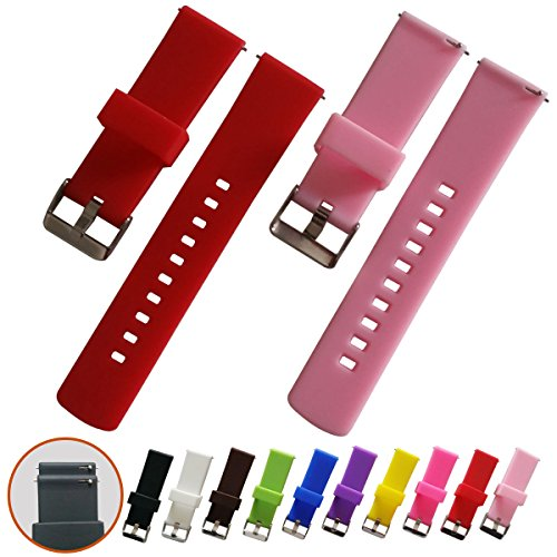 Quick Release Watch Bands - Soft Silicone Rubber - Smooth, soft, elastic slightly, 22mm 2 PCS (Red, pink)