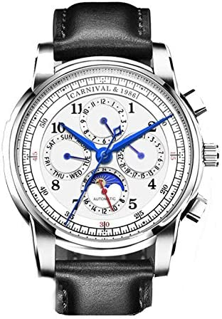 Carnival Automatic Mechanical Watch Men Moon Phase Switzerland Watches Real Leather Strap Waterproof Clock