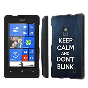 NakedShield AT&T Nokia Lumia 520 (Keep Calm Don't Blink) Total Hard Armor LifeStyle Phone Case