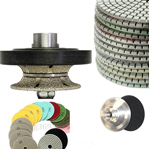 for concrete travertine sink hole cut granite masonry terrazzo polisher grinder sander Diamond Core Drill Bit 1 3//8 and 5 Diamond Turbo convex curved blade 3 Pieces 3 Pieces