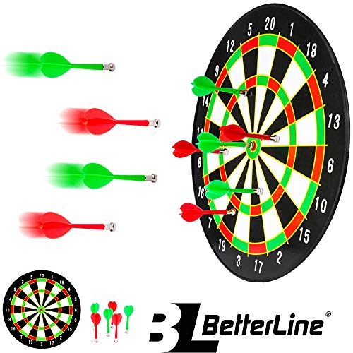 BETTERLINE Magnetic Dartboard Set - 16 Inch Dart Board with 6 Magnet Darts for Kids and Adults, Gift for Game Room, Office, Man Cave and Home Dart Games For Kids