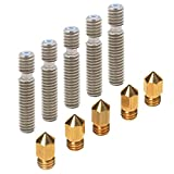 PChero 5pcs 0.4mm Brass Extruder Nozzle Print Heads and 5pcs 26mm length Extruder 1.75mm Tube for MK8 Makerbot Reprap 3D Printers