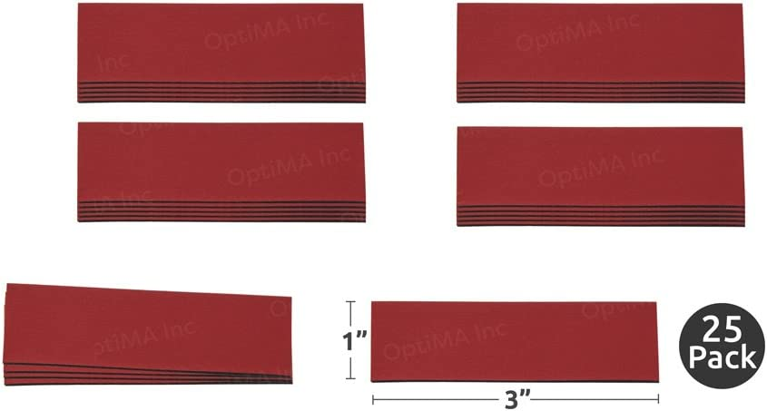 "1"" X 3"" rot Damp Erase Write auf Wipe aus Colored Magnet Strips 25/Pkg"
