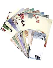 مجموعة أوراق ومظاريف ثابتة، مجموعة من 60 قطعة قرطاسية (40 ورقة قرطاسية + 20 ظرف) 10 ألوان مختلفة طلاء حبر كلاسيكي عتيق مع شريط.
