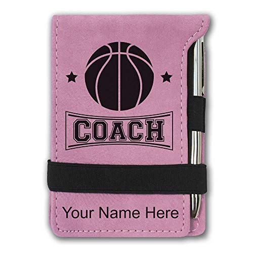 Mini Notepad, Basketball Coach, Personalized Engraving Included (Pink)