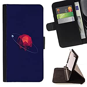 For Samsung Galaxy S4 IV I9500 Case , Polígono minimalista Espacio Azul- la tarjeta de Crédito Slots PU Funda de cuero Monedero caso cubierta de piel