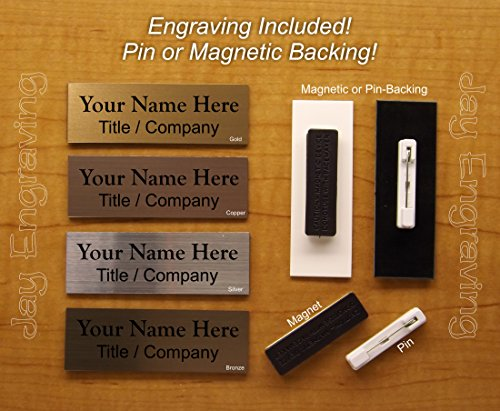 (Custom Engraved 1x3 Brushed Metal Finish Name Tag | Plastic ID Badge | Magnet or Pin Closure | Employee Identification Plate Magnetic | 4 Colors | Sign Plaque Personalized Customized Personalised )