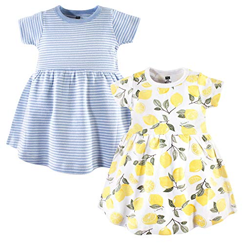 Hudson Baby Baby Girls Cotton Dress, 2 Pack, Lemons, 12-18 Months (18M)