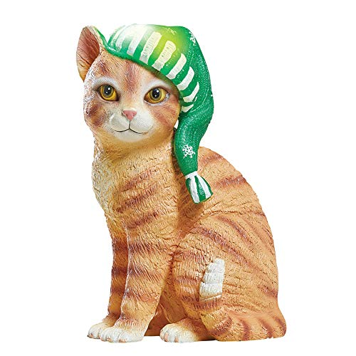 (Collections Etc Solar Lighted Winter Cat Statue with Hat Outdoor/Indoor Decoration, Adorable Kitten Seasons Greetings)