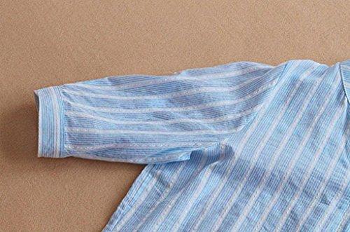 Tops V Poches Cou Automne Blouse Ray Quarts Chemise zahuihuiM Femmes Coton Nouvelle Bleu Manches Casual Mode Printemps Solide Trois qw8T6A0