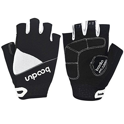 Cycling Gloves, Dreampark Half Finger Bike Bicycle Road Racing Gloves with Gel Pad Breathable Shock-absorbing Men/Women Gloves (Black+White, Large)