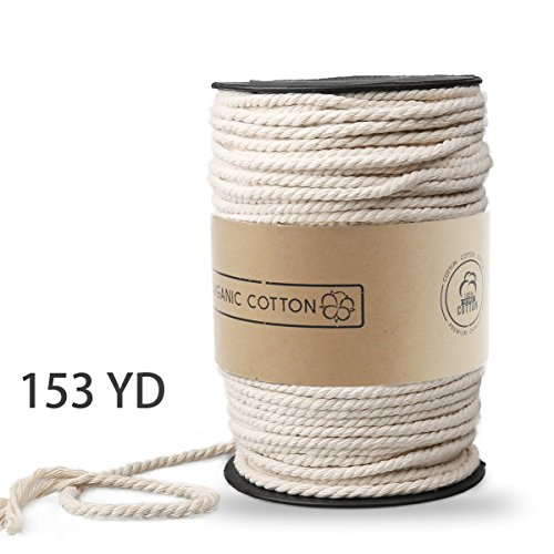 Macrame Cord, ZOUTOG 4mm x 153 yd (About 140m) Natural Cotton Soft Unstained Rope for Handmade Plant Hanger Wall Hanging Craft Making