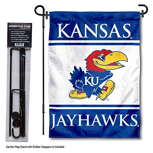 (College Flags and Banners Co. Kansas Jayhawks Garden Flag with Stand Holder )
