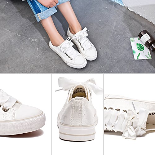 Pictures of ZGR Womens Fashion Canvas Sneaker Low Cut White4 8 M US 5