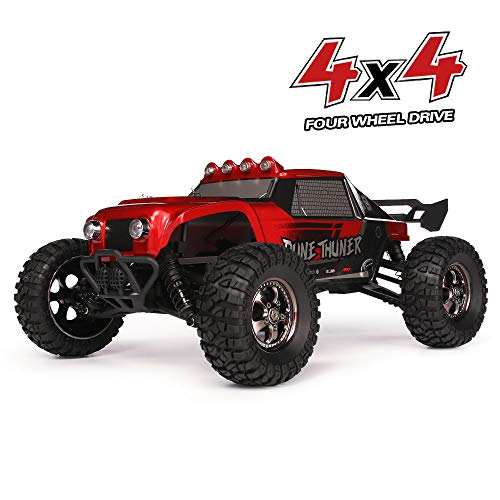 RC Cars Dune Thunder 2.4 GHz 4WD 1/12 Scale Desert Buggy 25 Mph High Speed with LED Lights, Oil Filled Dampers Waterproof Remote Controlled All Terrain Trucks RTR with Rechargeable Battery ()
