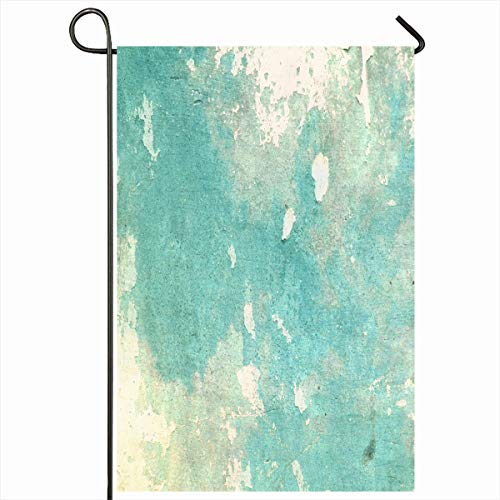 Ahawoso Outdoor Garden Flag 12x18 Inches Vintage Natural Blue Color Turquoise Abstract Green Damaged Solid Concrete Stone Border Dirty Cracks Seasonal Double Sides Home Decorative House Yard Sign ()