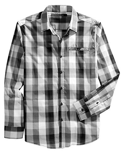 Sean John Mens Plaid Long Sleeve Casual Shirt Black XL from Sean John