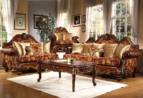 Amazon.com: Bordeaux Traditional Collection Living Room Set (Sofa, Love  Seat): Kitchen U0026 Dining