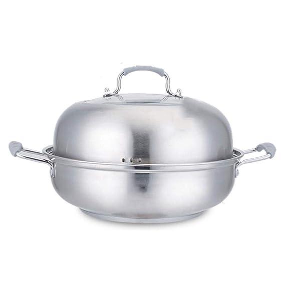 Steamer Slice Pot Potbo 304 Acero inoxidable Altura de espesamiento Alta capacidad Temperatura Gachas de sopa Salud Sopa Estofado Doble Fondo Inducción ...