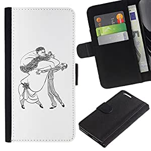All Phone Most Case / Leather Wallet Case Protective Cover for Apple Iphone 6 PLUS 5.5 Dance Caricature Man Woman Big Drawing Art