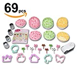 japanese bread mold - Cookie Cutter Vegetable Sandwich Bread Fruit shape cutter mold - Nori punch - Paper cup divider, Animal Food pick forks - 69pc Bento lunch box accessories set for kids and adults -