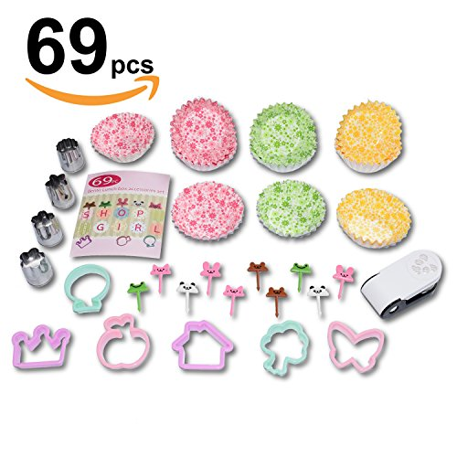 Cookie Cutter Vegetable Sandwich Bread Fruit shape cutter mold - Nori punch - Paper cup divider, Animal Food pick forks - 69pc Bento lunch box accessories set for kids and adults - -
