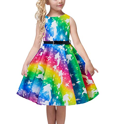 uideazone Cute Girls Summer Adorable Twirly Dress Mermaid Rainbow Colorful Prints Birthday Dress with Belt for Kids Children 10-11 Years Red -