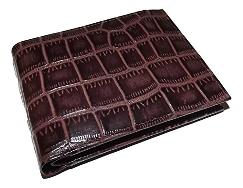 Mens Croc Embossed Leather (Italia Leather Men's Croc Embossed Bifold Passcase ID Wallet)