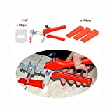 100pcs Clips+ 100 pcs Wedges + Plier Sets 2mm 1/16'' Joint Floor Tile Leveling System Kit Tile Spacer Starter Kit Lippage Free Red KELANDA