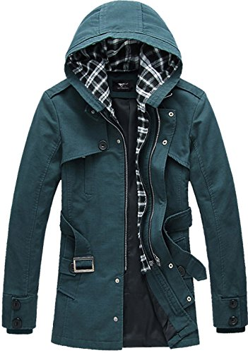 Trench Coat Lightweight Belted - SWORLD Men's Vintage British Belted Iconic Trench Coat Hooded Buckle Collar Wind Jacket
