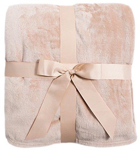 Luxury Fleece Lined Fuzzy Blanket Winter Blanket Solid Color, Camel