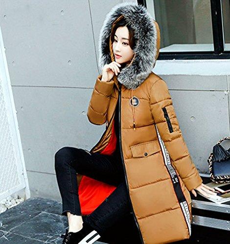 Bolsillos Linnuo Outwear Parka Caqui Mujer Sintética De Piel Cazadora Medio Con Cuello Capucha Abrigo Slim largo Acolchado TwTf6RZrq