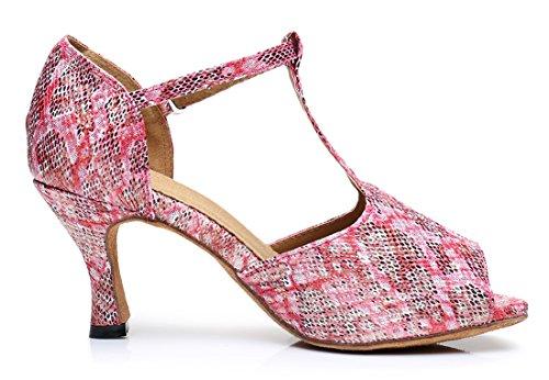 LD0188 Sandals Tango Salsa Party Pink High M TDA 5 T Latin Strap Womens Synthetic 8 Dance US Ballroom Heel dgwCzC6pq