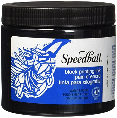 Speedball 3700 Water-Soluble Block Printing Ink – Bold Color With Satin Finish AP Certified 16 FL OZ, Black