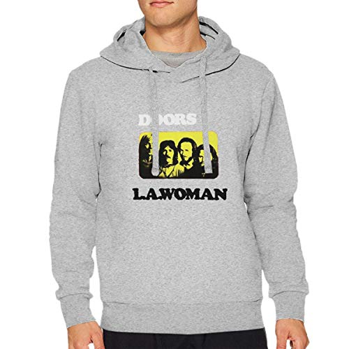 SJJOZOjz The Doors L.A. Woman Band Music Group Jim Morrison Mens Long Sleeve Sweatshirts Mans Hoodies Gray