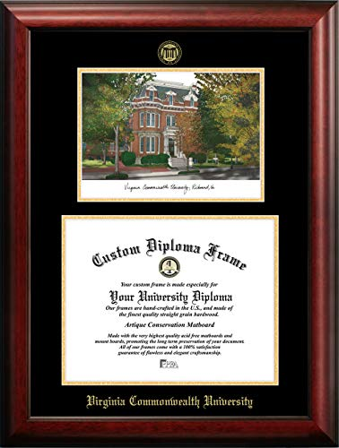 Campus Images Virginia Commonwealth University 14w x 11h Gold Embossed Diploma Frame Lithograph