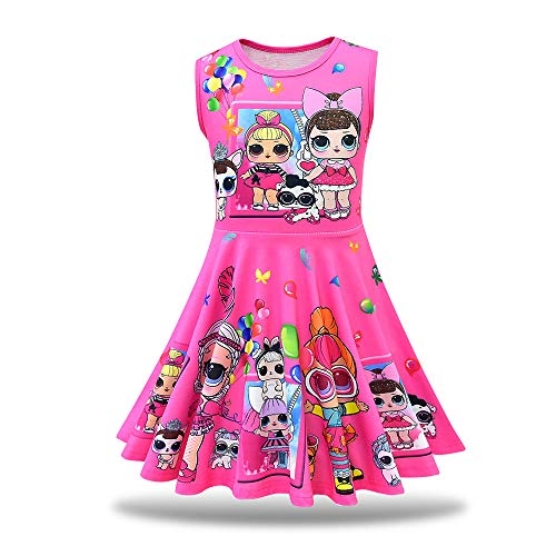 MagJazzy Little Girls Casual Dress Sleeveless Digital Printing Pageant Party Birthday Dress for Doll Surprised (150cm/ 7-8Y, Balloon Rose)